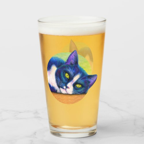 Colorful Tuxedo Cat Drinking Glass Cup