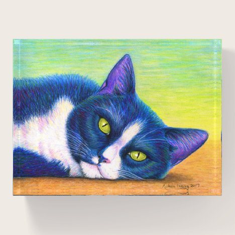 Colorful Tuxedo Cat Glass Paperweight