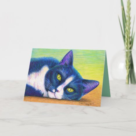 Colorful Tuxedo Cat Greeting Card