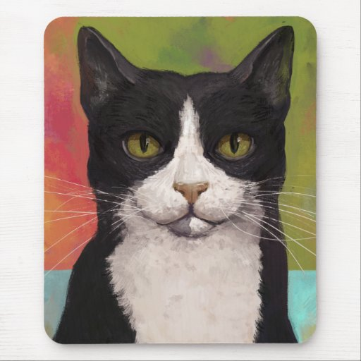 Colorful Tuxedo Cat Mouse Pad
