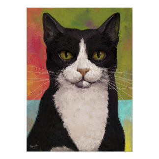 Colorful Tuxedo Cat Posters