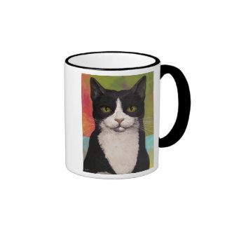 Colorful Tuxedo Cat Ringer Mug