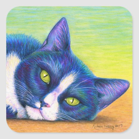 Colorful Tuxedo Cat Stickers