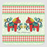 Colorful Twin Swedish Dala Horses Christmas Custom Square Sticker