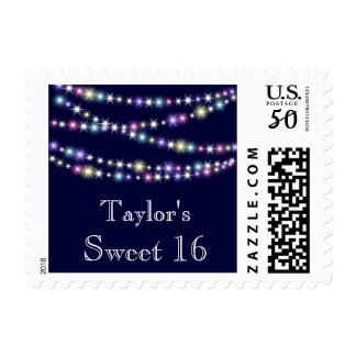 Colorful Twinkle Lights on Navy Sweet 16 Stamp