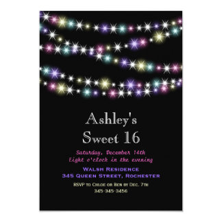 Colorful Twinkle Lights Sweet 16 Party Invitation
