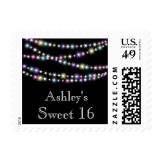 Colorful Twinkle Lights Sweet 16 Stamp