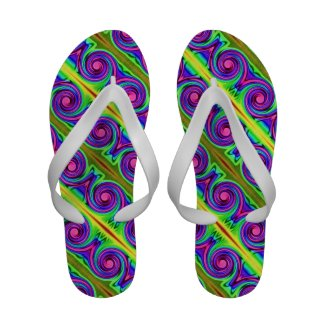 Colorful Twirls Flip-Flops