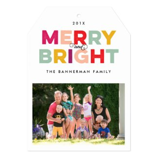 Colorful Type Merry and Bright Flat Holiday Card