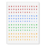 [ Thumbnail: Colorful Typewriter-Style Alphabet Characters Temporary Tattoos ]