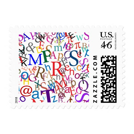 Colorful Typographic Art Postage Stamps