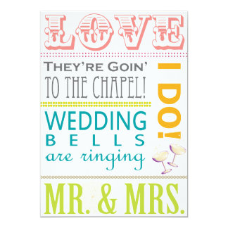 Colorful Typography Wedding Card