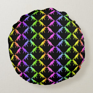 Colorful Tyrannosaurus Rex Dinosaur Round Pillow