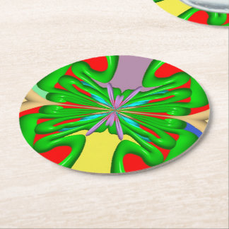 Colorful Ugly art Round Paper Coaster