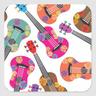 Colorful Ukeleles Square Sticker