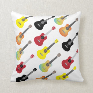 Colorful Ukulele Patterns Throw Pillow