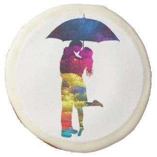 Colorful Umbrella Couple Sugar Cookie