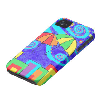 Colorful Umbrella Fly Away iPhone 4 Cover