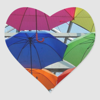 colorful Umbrella Heart Sticker