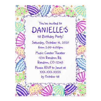 "Colorful umbrella theme birthday party invitations 8.5"" x 11"" flyer"