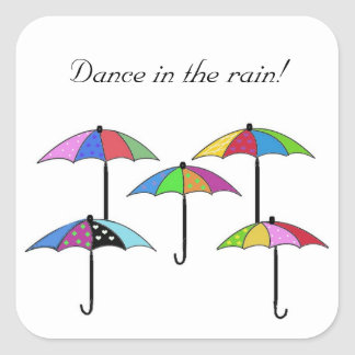 Colorful Umbrellas Dance in the Rain Square Sticker
