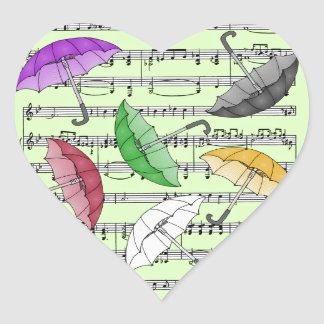 Colorful Umbrellas With Sheet Music Background Heart Sticker