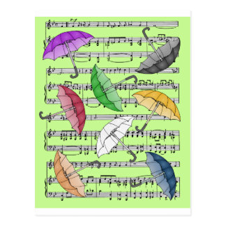 Colorful Umbrellas With Sheet Music Background Postcard
