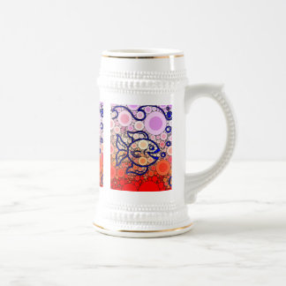 Colorful Under the Sea Bubbly Fish Swimming Mosaic Beer Stein