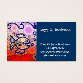 Colorful Under the Sea Bubbly Fish Swimming Mosaic Business Card