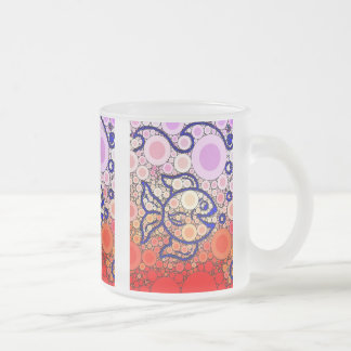 Colorful Under the Sea Bubbly Fish Swimming Mosaic Frosted Glass Coffee Mug