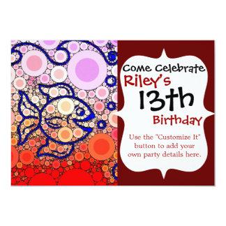 Colorful Under the Sea Bubbly Fish Swimming Mosaic 5x7 Paper Invitation Card