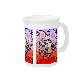 Colorful Under the Sea Bubbly Fish Swimming Mosaic Beverage Pitchers