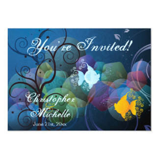 Colorful Underwater Fish Couple Wedding Invitation