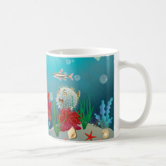 Colorful Underwater Scene Cartoon Coffee Mug