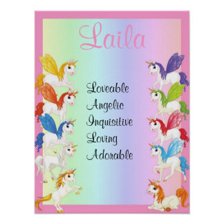 Colorful Unicorn Any Name Art Print Poster
