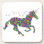 Colorful Unicorn Beverage Coaster