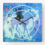 Colorful Unicorn Blue Green Decorative Square Wall Clock