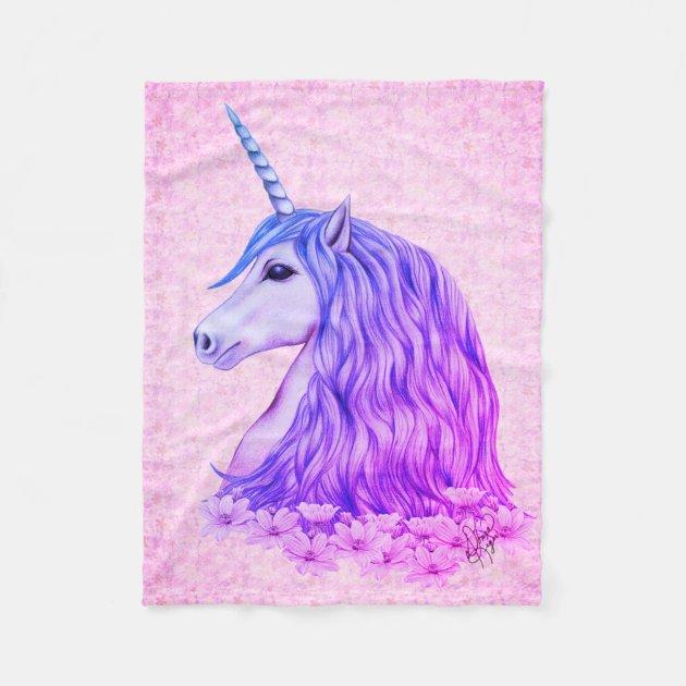 Colorful Unicorn Fleece Blanket