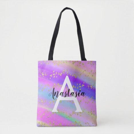 Colorful Unicorn Rainbow Gold Glitter Monogram Tote Bag