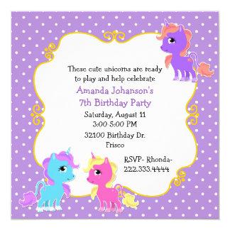 Colorful Unicorns Birthday Party Invitation