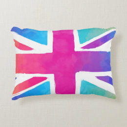 Colorful Union Jack Flag Accent Pillow Great Pictures