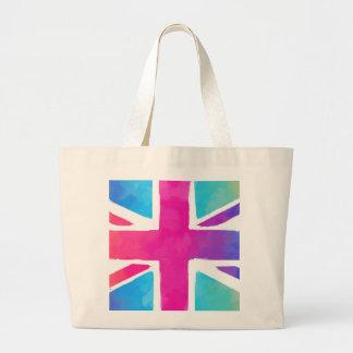 Colorful Union Jack Flag Large Tote Bag