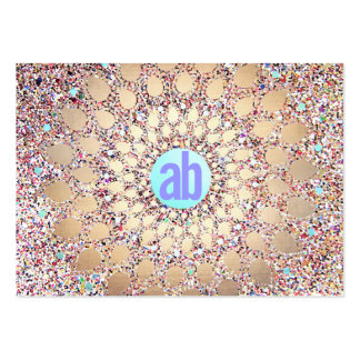 Colorful, Unique and Festive Monogram Glitter Large Business Card
