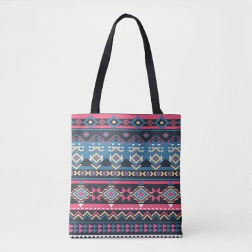 Aztec Themed Colorful Unique Geometric Abstract Tribal Pattern Tote Bag