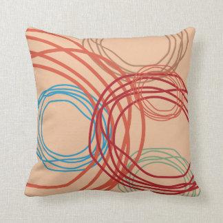Colorful Unique Swirl Design On Cream Background Throw Pillow