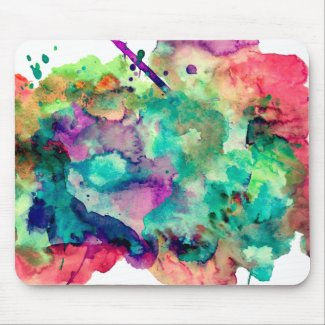 Colorful, Unique Watercolor Paint Splashes Mouse Pad