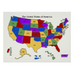 Colorful United States Maps School Poster
