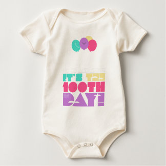 Colorful Up and Away Balloon 100 Days of School Baby Bodysuit