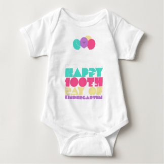 Colorful Up and Away Happy 100th Day Kindergarten Baby Bodysuit