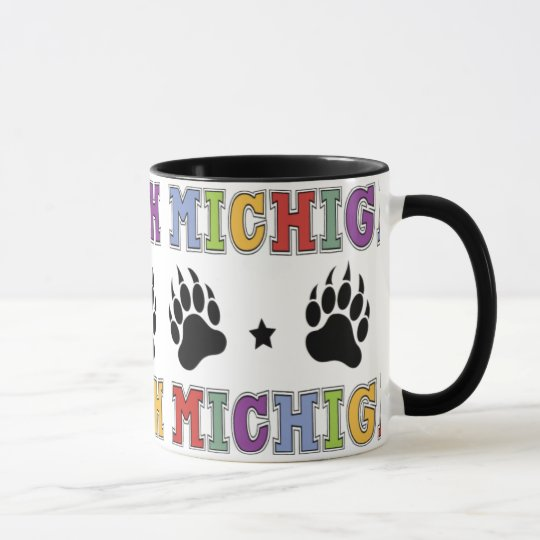 Colorful Up North Michigan Mug with Bear Claws